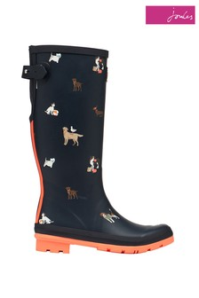 Joules Printed Adjustable Back Gusset Wellies