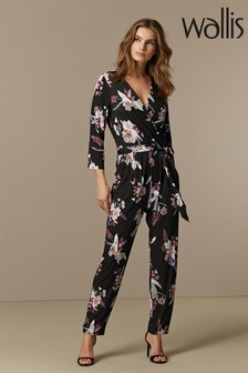 Wallis Black Magnolia Floral Jumpsuit