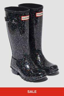 Hunter Girls Black Glitter Classic Wellington Boots