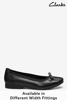 Clarks Black Leather Un Darcey Bow Shoes