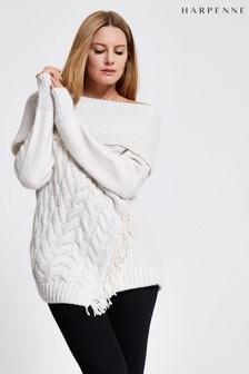 Harpenne Cream Asymmetric Chunky Knit Jumper