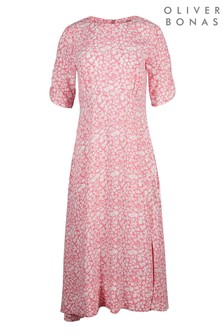 Oliver Bonas Pink Two Tone Ditsy Floral Midi Dress