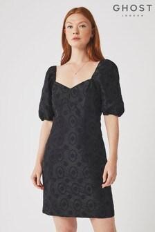 Ghost London Black Saskia Embroidered Taffetta Dress