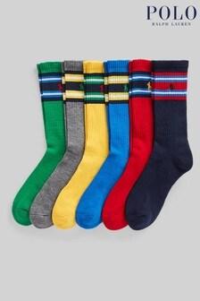 Polo Ralph Lauren Multi Stripe Cotton Socks 6 Pack