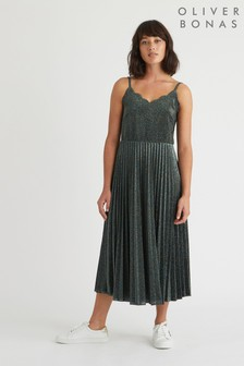 שמלת מידי עם קפלים של Oliver Bonas דגם Strappy Scallop Sparkle בכחול