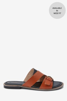 Leather Buckle Mules