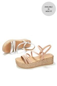 Metallic Strappy Flatform Sandals