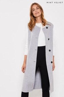Mint Velvet Silver Grey Sleeveless Coat