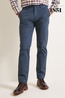 Moss 1851 Tailored Fit Admiral Blue Stretch Chinos