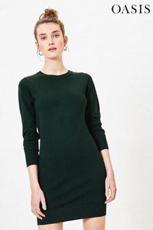 Oasis Green Knitted Jumper Dress