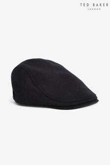 Ted Baker Navy Wool Flat Cap