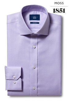 Moss 1851 Tailored Fit Lilac Single Cuff Non-Iron Shirt