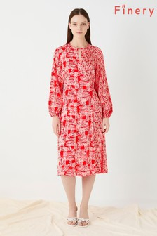 Finery London Pink Priory Wrap In Mixed Coral Waffle Print Dress
