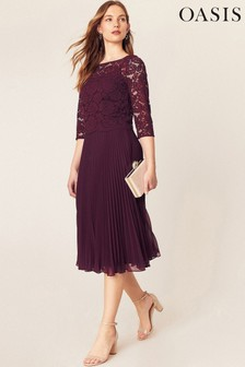 Oasis Red Lace Top Midi Dress*