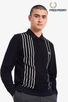 Fred Perry Refined Striped Long Sleeve Polo Shirt