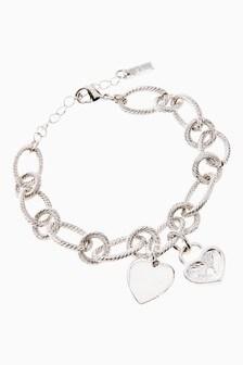 Pave Heart Charm Link Bracelet