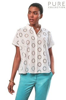 Pure Collection White Cotton Embroidered Boxy Shirt