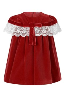 Girls Red Velvet With Lace Details Dress