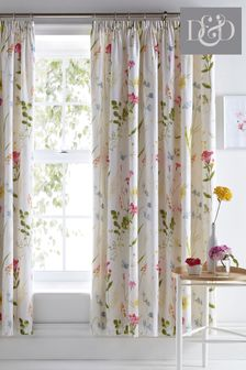 Spring Glade Floral Lined Pencil Pleat Curtains by D&D