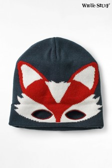 White Stuff Blue Kids Fox Mask Hat