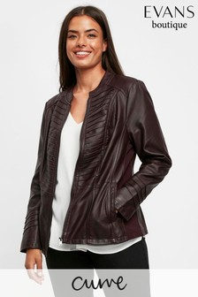 Evans Purple Curve Plum Biker Jacket