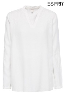 Esprit White Tunic Blouse In Linen Mix