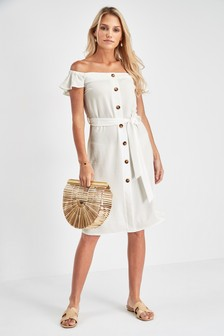 Button Off The Shoulder Dress