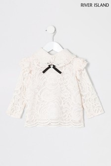 River Island Pink Lace Bow Top
