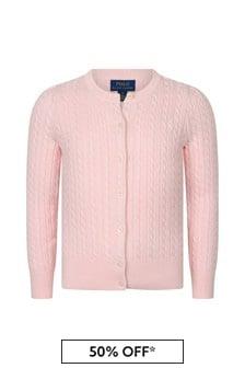 Ralph Lauren Kids Girls Pink Cotton Cable Knit Cardigan