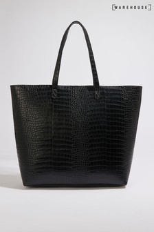 Warehouse Black Faux Crocodile Shopper Bag