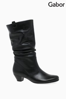 Gabor Black Rachel Medium Calf Fit Leather Mid Leg Boots