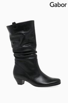 Gabor Black Rachel Medium Calf Fit Leather Mid Leg Boots