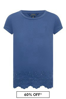Girls Navy Cotton Eyelet Top