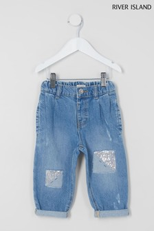 River Island Blue Mom Jeans With Sequin Patch