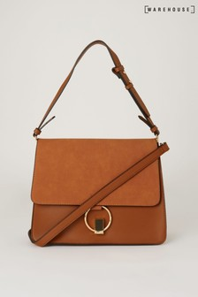Warehouse Tan Mixed Material Satchel Bag