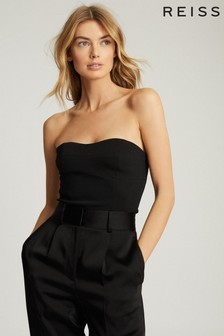 Reiss Black Bobbi Cropped Bustier Top