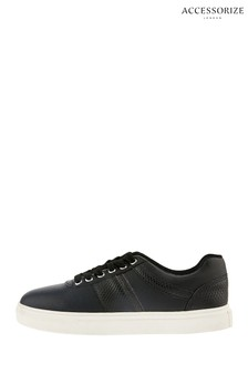 Accessorize Black Casual Mock Croc Trainers