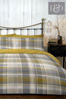 D&D Ochre Connolly Check Duvet Cover and Pillowcase Set
