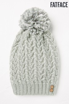 FatFace Green Pattern Cable Beanie Hat