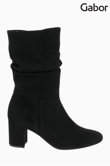 Gabor Vangola Black Suede Calf Length Fashion Boots