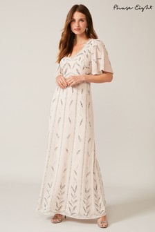 Phase Eight Neutral Meredith Embellished Leaf Dress