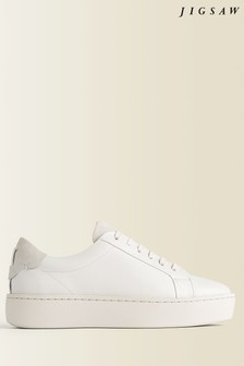 Jigsaw Cream Rayla Flatform Leather Trainers
