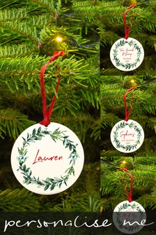 Personalised Wreath Christmas Decoration by Ellie Ellie