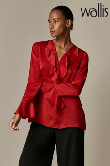Wallis Red Satin Ruffle Top