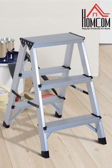Folding Double Step Ladder by Homcom