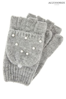 Accessorize Grey Pearl Capped Mittens