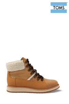 TOMS Tan Waterproof Faux Fur Lined Hiker Boots