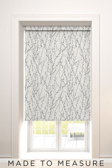 Made To Measure Grey Delicate Willow Print Roller Blind