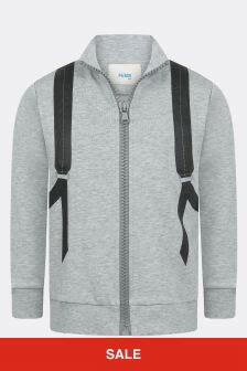 Fendi Kids Boys Grey Cotton Zip Up Top