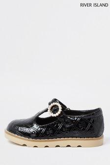 River Island Black Monogram Pearl Clumpy Shoes